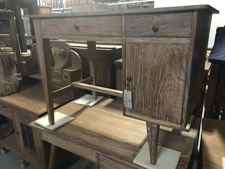 Wooden Desk with Two Drawers and One Door