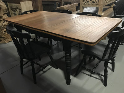 Wooden Dining Table with Black Legs