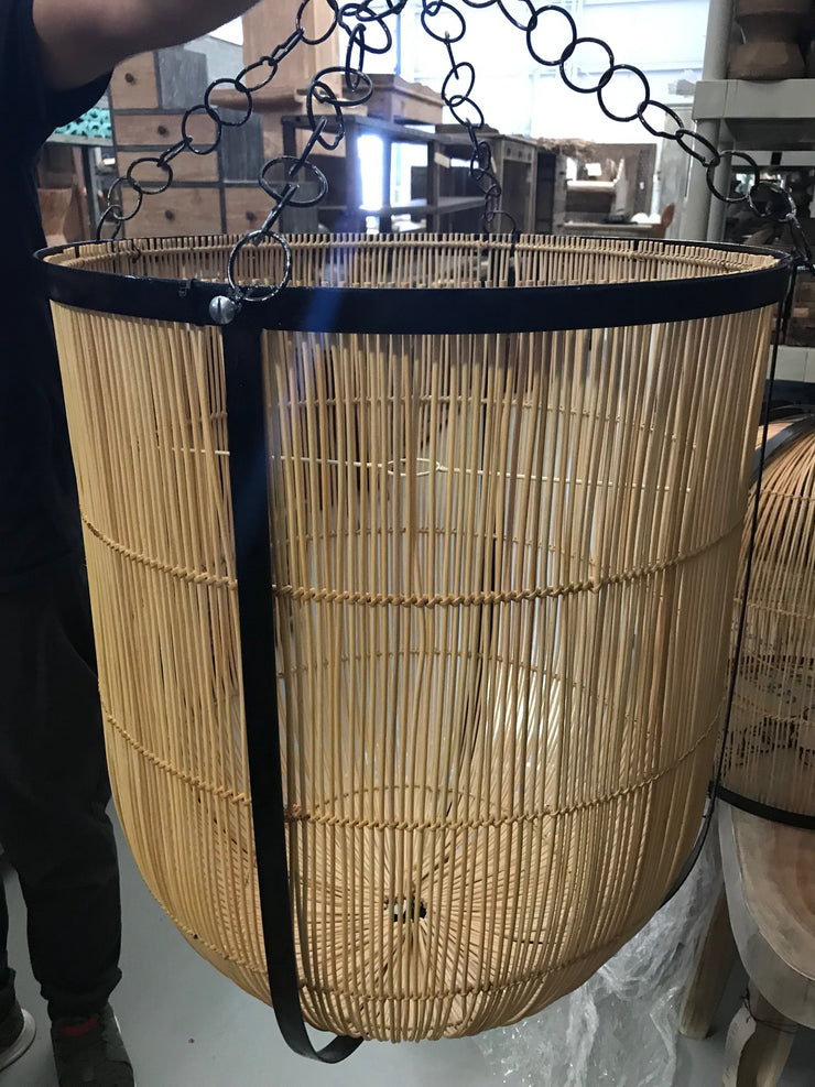 Medium Natural Fiber Lamp Shade with Metal