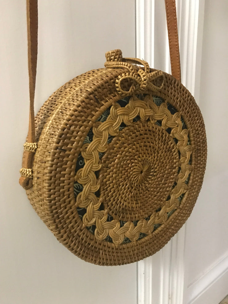 Large Circular Natural Fiber Woven Bag