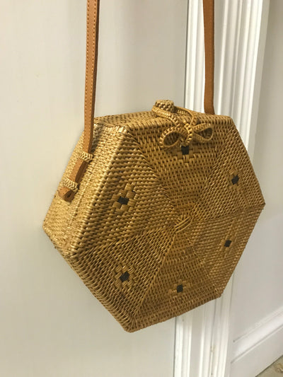 Hexagonal Natural Fiber Woven Bag