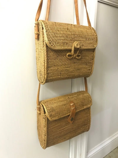 Small Square Natural Fiber Woven Bag