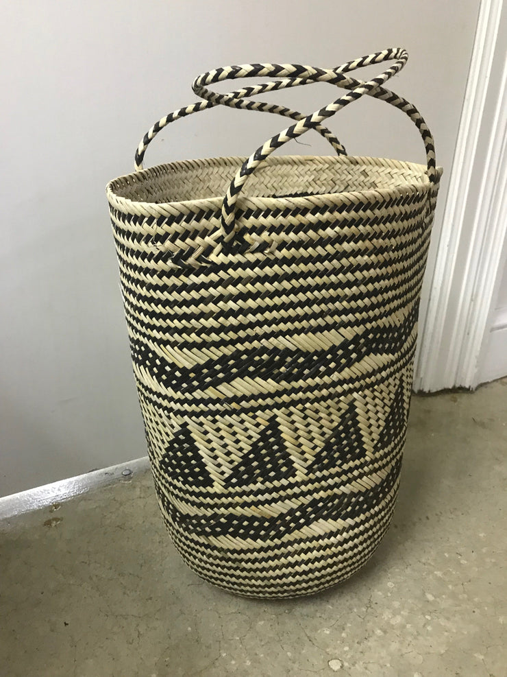 Round Natural Rattan Fiber Woven Bag