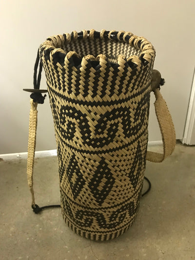 Tall Circular Natural Rattan Fiber Woven Bag