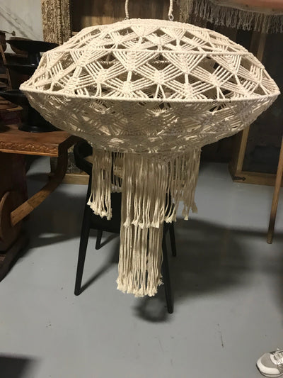 Natural Fiber Woven Lamp Shade with Tassel