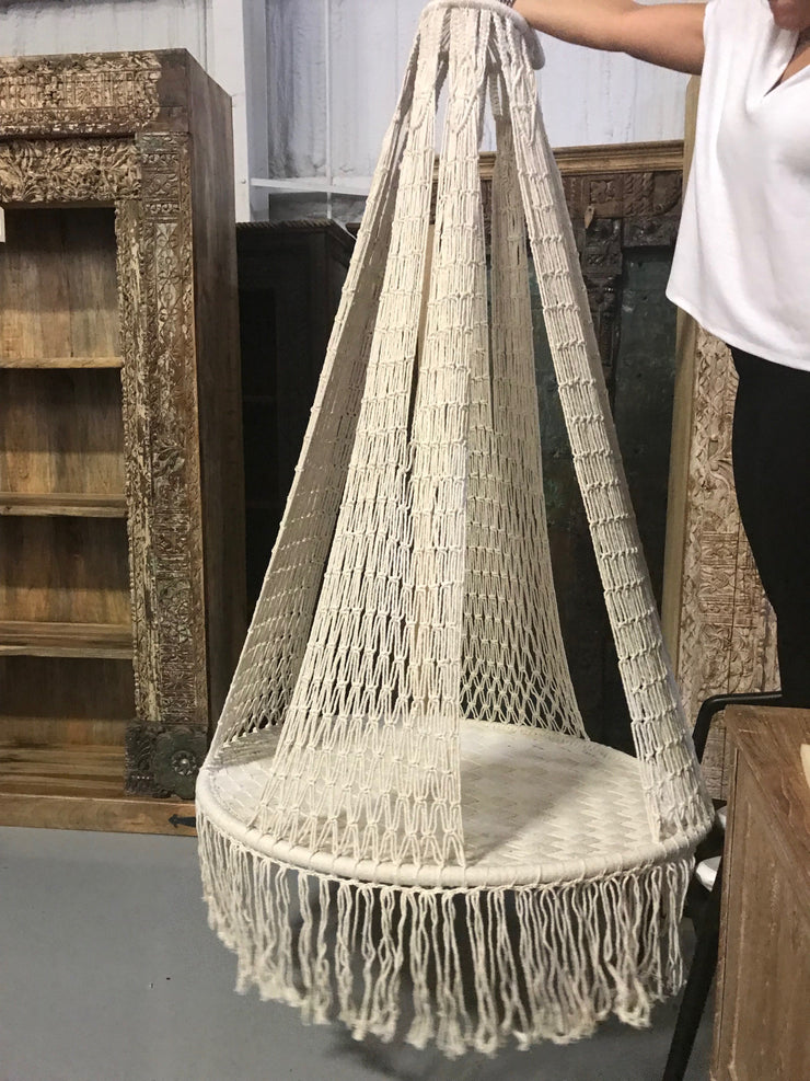 Natural Fiber Woven Swing with Tassel