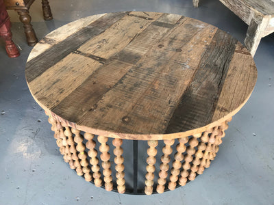 Round Wooden Spool Coffee Table