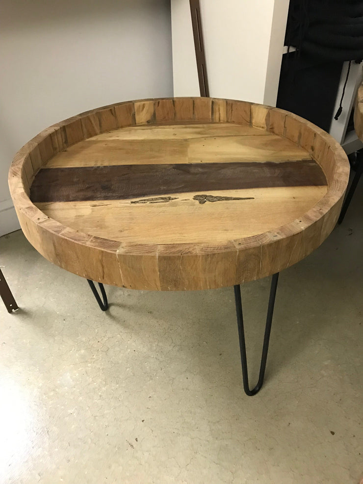 Wooden Round Tray Side Table