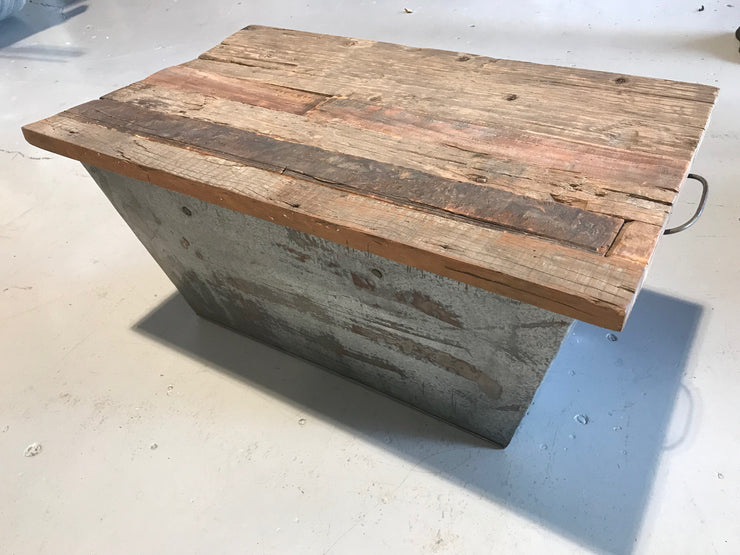 Iron Box Side Table with Wooden Top