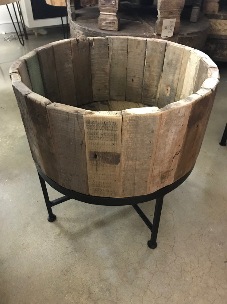 Round Wooden Planter with Iron Base