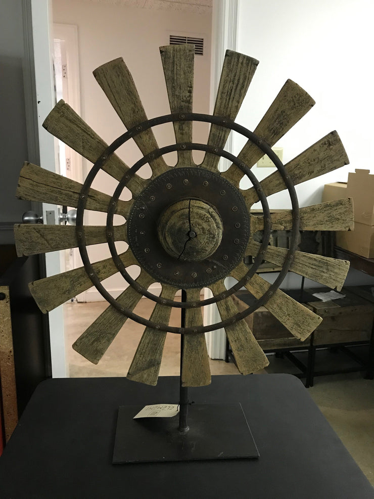 Wooden Charkha Wheel On Iron Stand