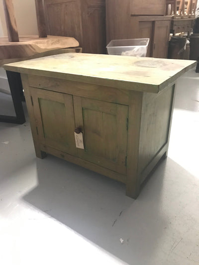 Short Green Wooden Side Table with Two Doors