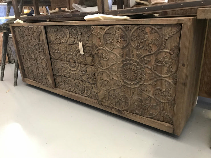 Wooden Sideboard with Carving, Four Drawers, and Two Doors