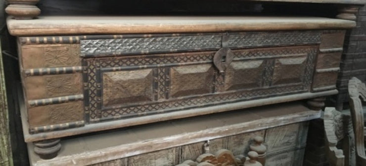 Low Carved Wooden Trunk