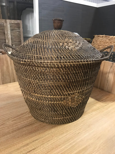 Natural Fiber Woven Basket with Lid