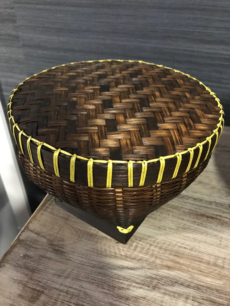 Natural Bamboo Fiber Woven Drum - Medium Size from Three Piece Set