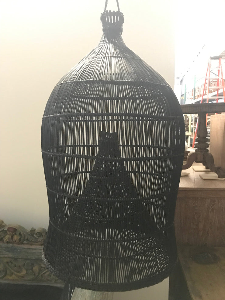 Small Natural Fiber Woven Black Lamp Shade
