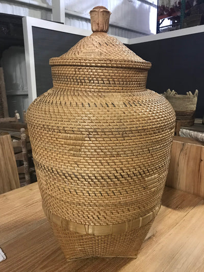 Tall Natural Fiber Woven Basket with Lid