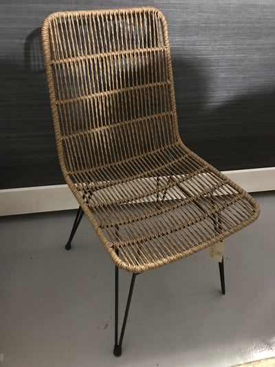 Nigerian Satinwood Natural Twisted Hyacinth Fiber and Iron Chair