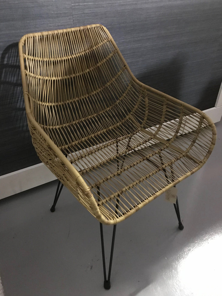 Natural Fiber Woven and Iron Chair