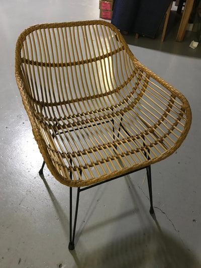 Natural Fiber Woven and Iron Curved Chair