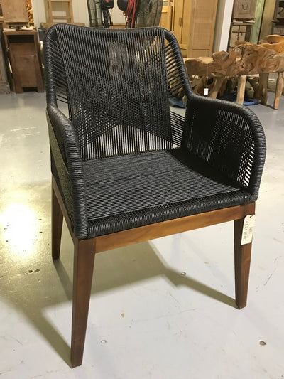 Black Natural Twisted Hyacinth Fiber and Wooden Chair