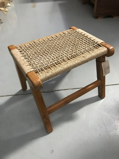 Euro Ash Natural Twisted Hyacinth Fiber and Wooden Small Stool
