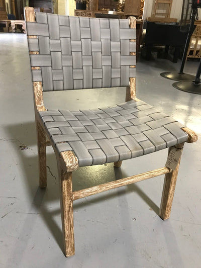 Grey Natural Fiber Woven and Wooden Chair