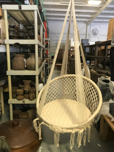 Cream Natural Fiber Woven Hanging Swing
