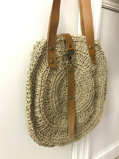Circular Natural Fiber Woven Bag with Leather Straps