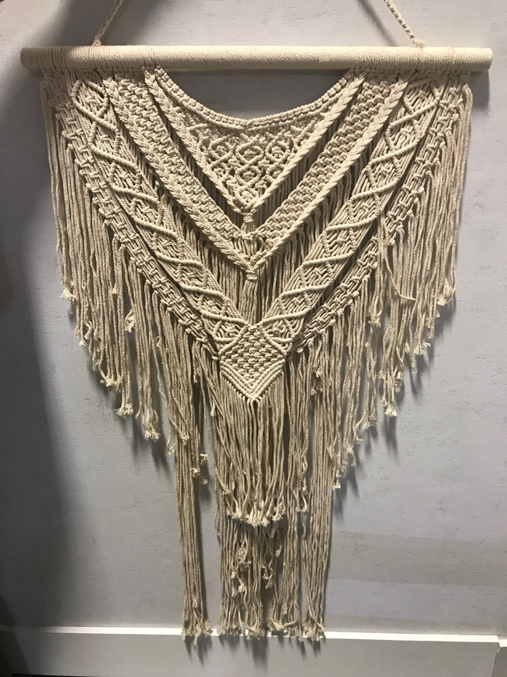 Cream Macrame Wall Hanging with Tassel