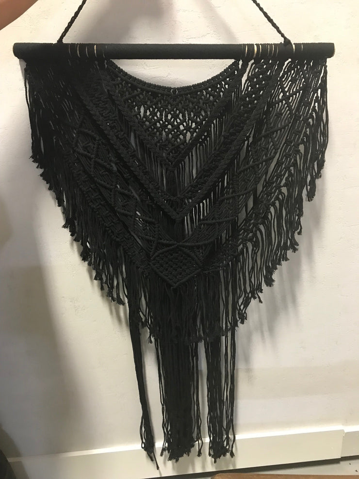 Black Macrame Wall Hanging with Tassel
