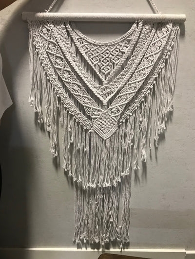 White Macrame Wall Hanging with Tassel