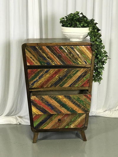 Colorful Wooden Dresser with Four Drawers