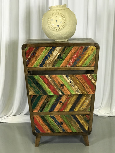 Wooden Colorful Dresser with Four Drawers