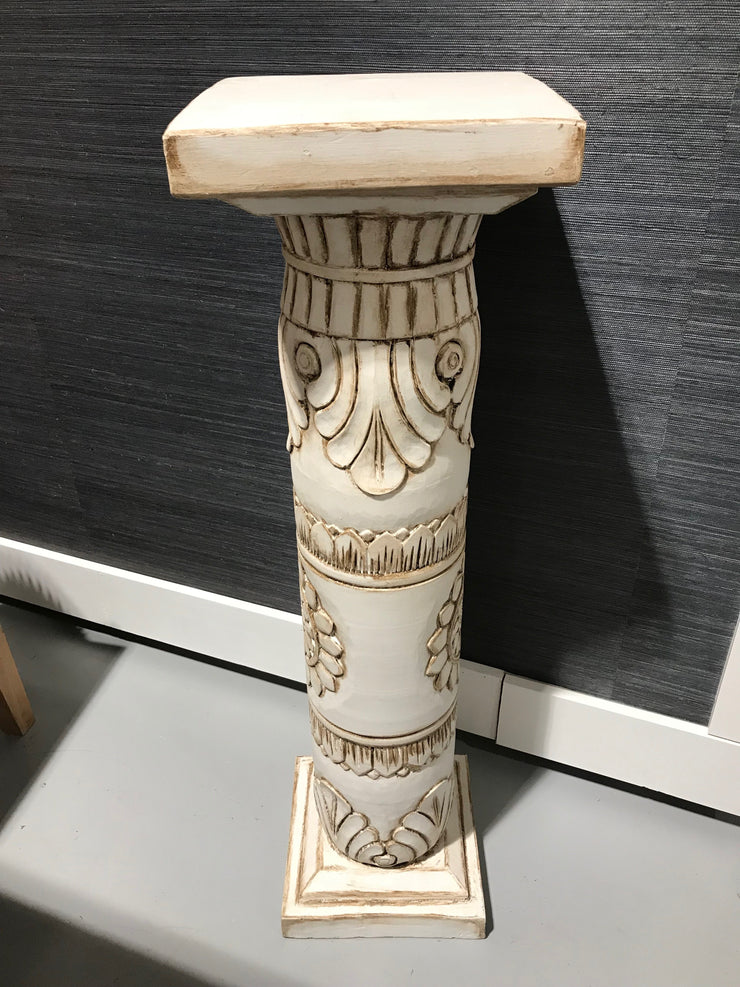 White and Brown Wooden Pedestal