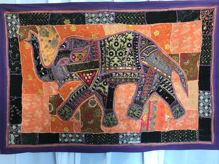 Elephant Indian Tapestry with Purple Border