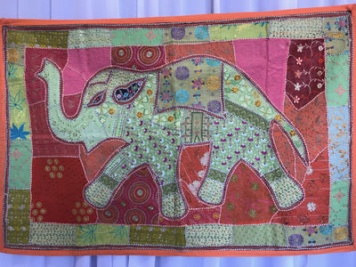 Elephant Indian Tapestry with Orange Border