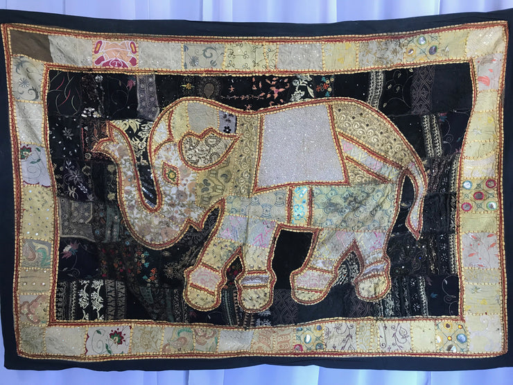Elephant Indian Tapestry with Black Border