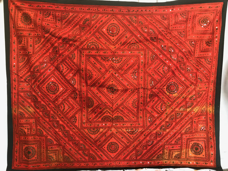 Red and Black Indian Tapestry
