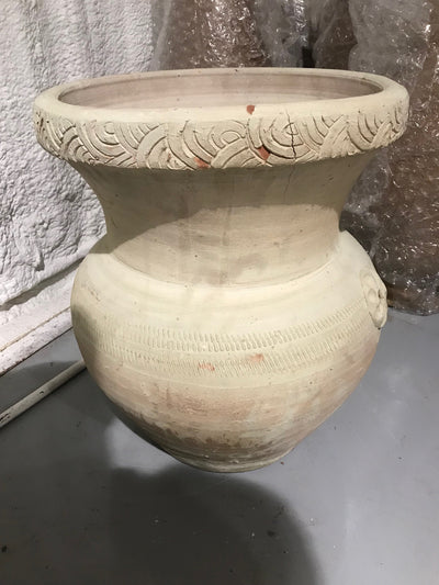 Large Clay Pot with Carving