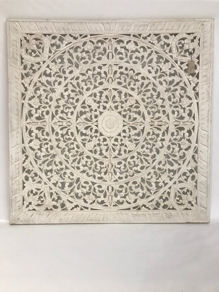 Large Light Colored Wooden Carving