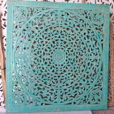 Turquoise Wood Carving