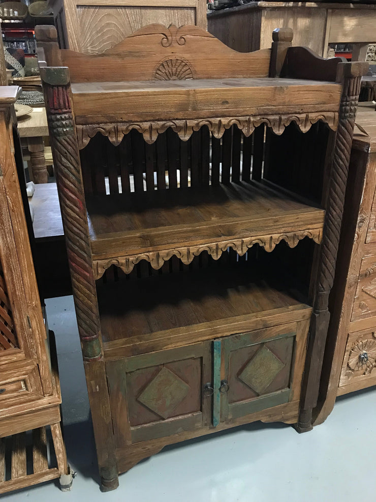 Wooden Hutch with Two Doors and Two Shelves