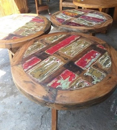 Recycled Boatwood Coffee Table Round