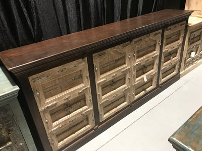 Carved Dark Wood Sideboard with Yellow Doors