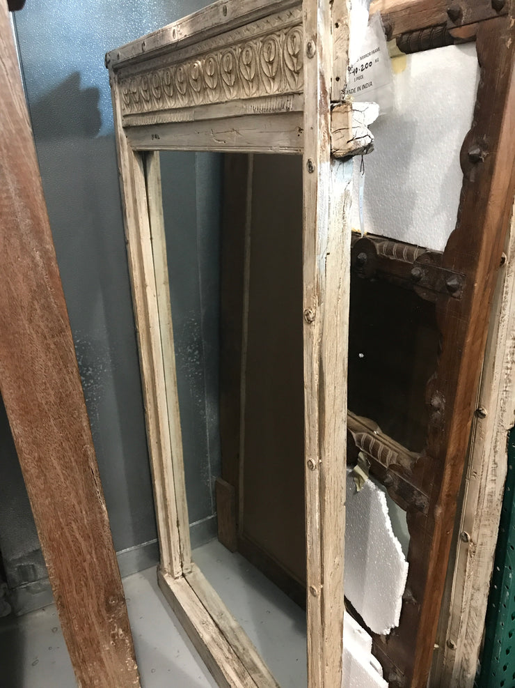 Square White Wood Mirror Frame