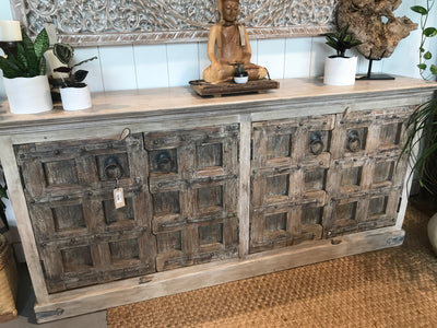 Carved Wood Door Sideboard
