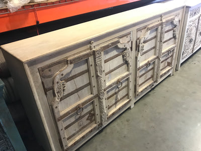 White Wood Sideboard with Carved Doors