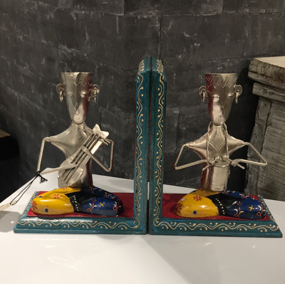 Book Ends Wood & Metal (2 pcs)